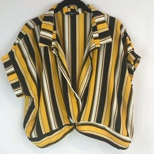 Ambiance 2X Striped Open Neck Crop Blouse Top